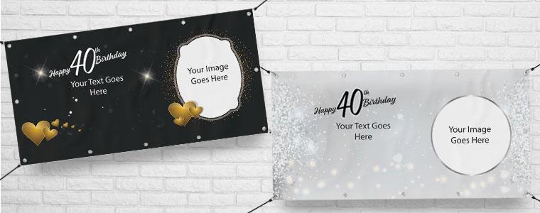 40 cumpleaños Banners personalizados