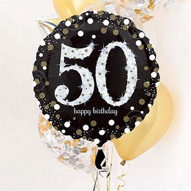 Globos y accesorios del 50. ° cumpleaños