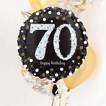 Globos y accesorios del 70º cumpleaños