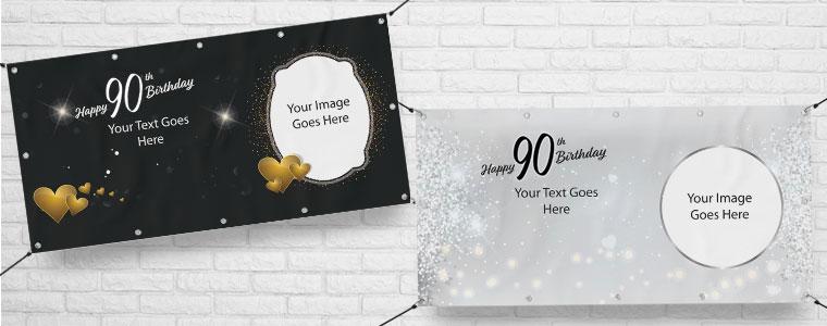 90 cumpleaños Banners personalizados
