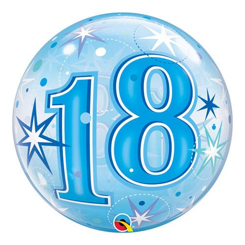 Número 18 Globo De Starbust Spark Bubble Helio Globo 56 Cm / 22 Pulgadas