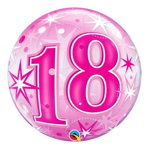Número 18 Rosa Starbust Sparkle Bubble Helio Qualatex Globo 56Cm / 22 In