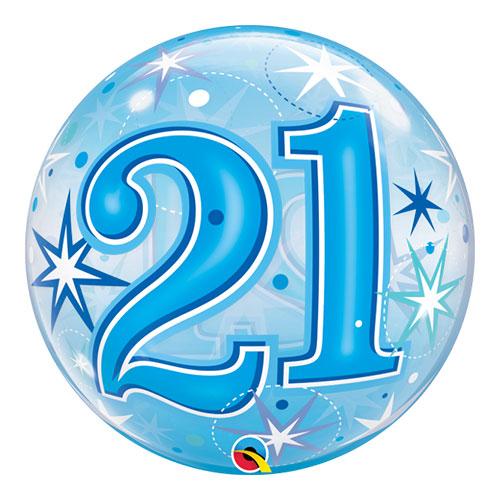 Número 21 Azul Starbust Sparkle Bubble Helio Qualatex Globo 56Cm / 22 In