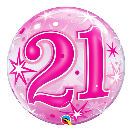 Número 21 Rosa Starbust Sparkle Bubble Helio Qualatex Globo 56Cm / 22 In