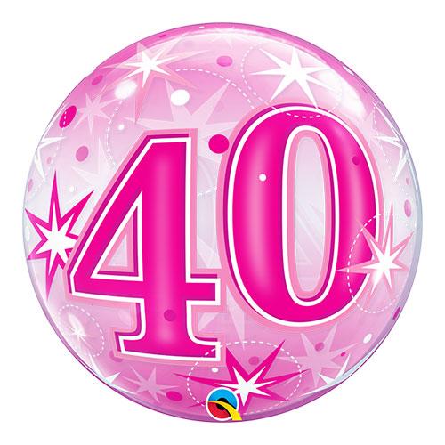 Número 40 Rosa Starbust Sparkle Bubble Helio Qualatex Globo 56Cm / 22 In