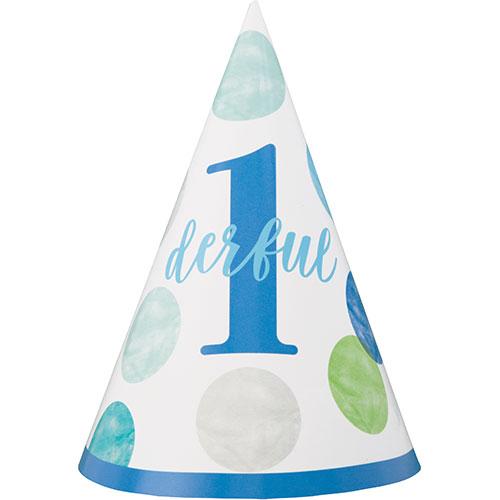 Primer Cumpleaños Niño Azul Puntos 1Derful Fiesta Cono Sombrero