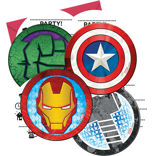 Marvel Vengadores Invitaciones Con Sobres - Paquete De 6