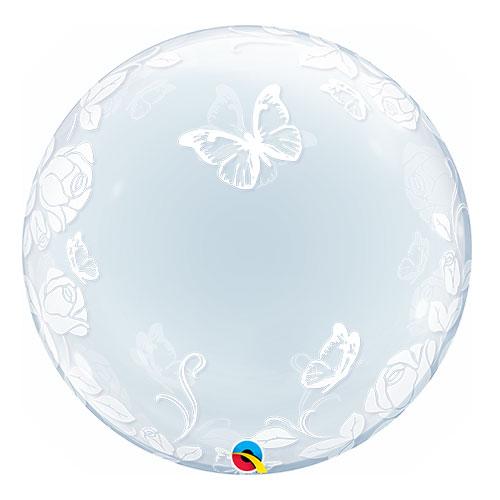 Rosas Y Mariposas Deco Burbuja De Helio Qualatex Globo 61Cm / 24 Pulgadas