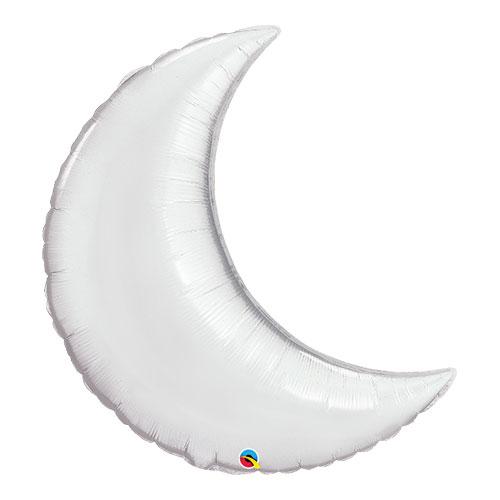 Globo Qualatex Gigante De Lámina De Plata De La Luna Creciente De Plata 89Cm / 35 In
