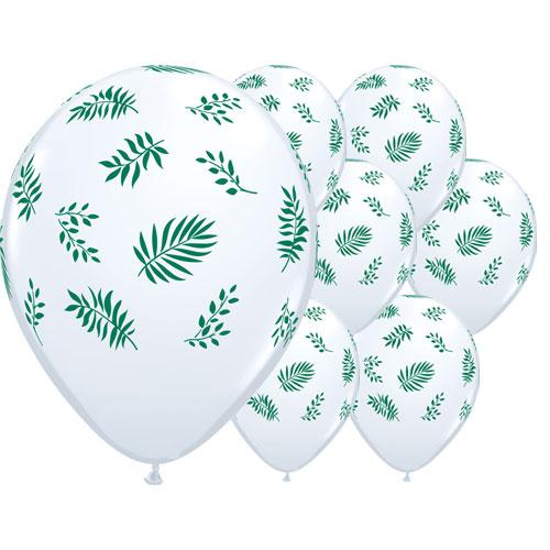 Verdes Tropicales Látex Helio Qualatex Globos 28 Cm / 11 Pulgadas - Paquete De 25