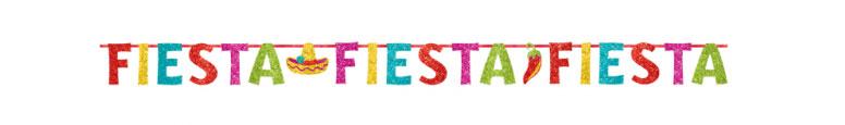 Mexicana Fiesta Glitter Carta De Cartón Banner 3.65M
