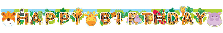 Selva Fiesta Feliz Cumpleaños Cartulina Articulada Carta Banner 170Cm