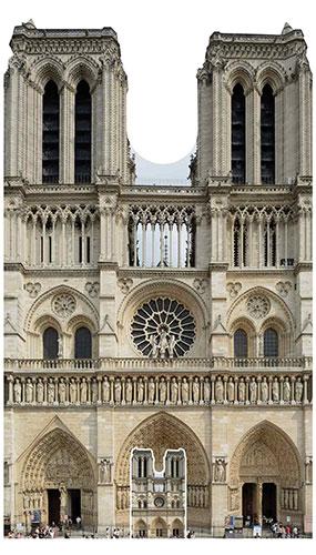Notre Dame Francés Catedral De Tamaño Natural Recorte De Cartón 173cm