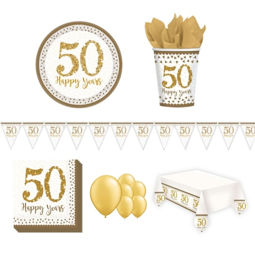 50. ° paquete de fiesta de lujo para bodas de oro de 8 personas