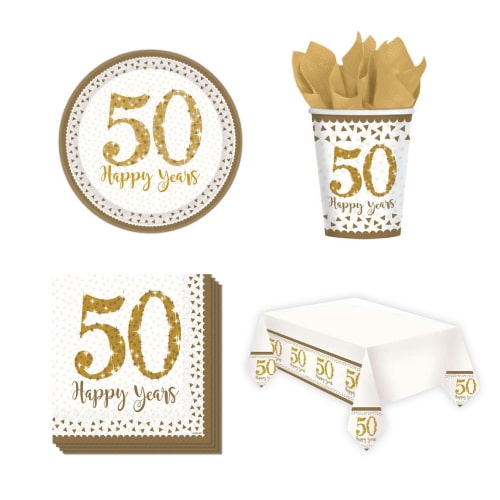 50.º aniversario de bodas de oro Paquete de fiesta con valor para 8 personas