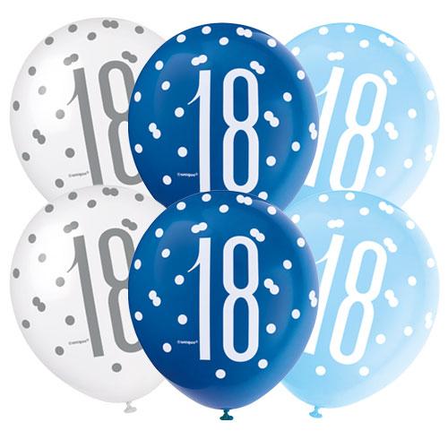 Glitz Azul Edad 18 Perlados Surtidos Globos De Látex 30 Cm / 12 Pulgadas - Paquete De 6