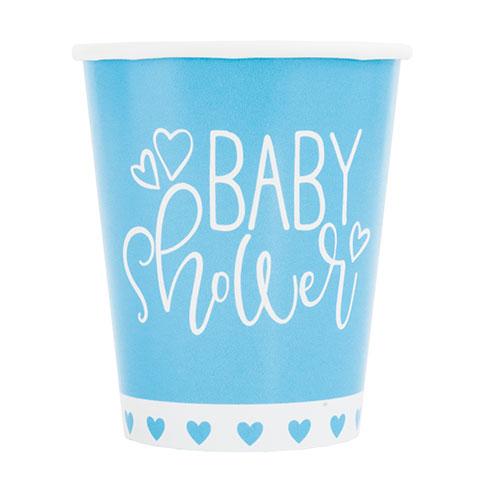 Azul Corazones Baby Shower Copas De Papel 270Ml - Paquete De 8