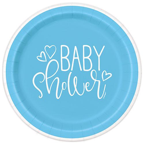Azul Corazones Baby Shower Redondos Platos De Papel 22Cm - Paquete De 8