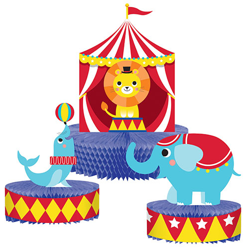 Fiesta De Circo Panal Pieza Central Decoraciones De Mesa - Paquete De 3