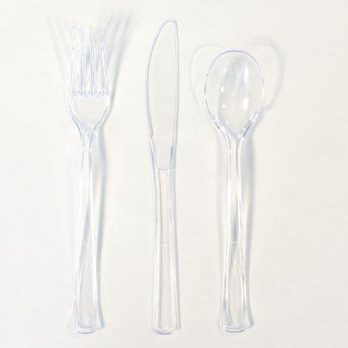 Claro Plástico Surtido Juego De Cubiertos - Paquete De 18