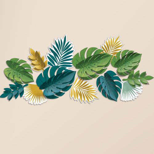 Key West Hojas Tropicales Decoraciones De Pared - Paquete De 13