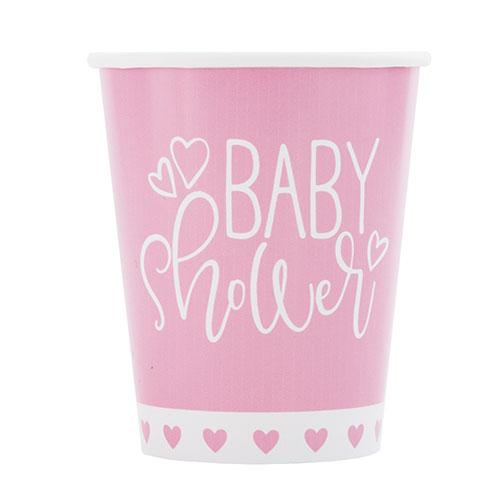 Rosa Corazones Baby Shower Copas De Papel 270Ml - Paquete De 8