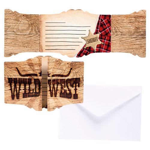 Sheriff Wild West Invitaciones Con Sobres - Paquete De 6