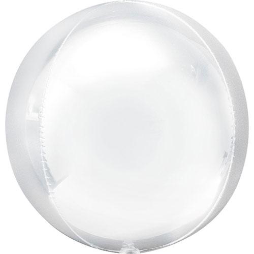 Blanco Orbz Globo De Helio De Aluminio 38 Cm / 15 Pulgadas