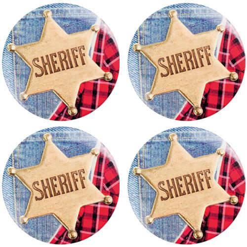 Botones De Sheriff Del Oeste Salvaje - Paquete De 4