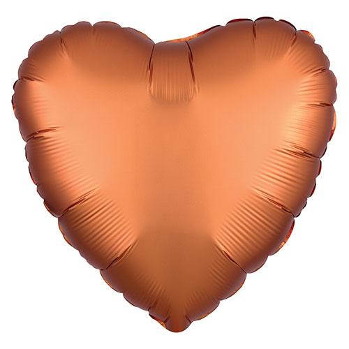 Naranja Ámbar Satén De Lujo Forma Corazón Papel De Aluminio Globo De Helio 43Cm / 17 In