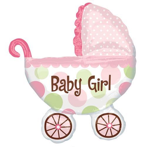 Baby Girl Buggy Globo Gigante De Papel De Helio 79Cm / 31 In