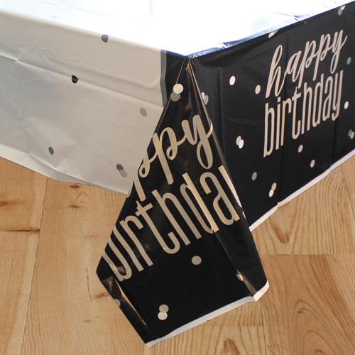 Negro Glitz Cumpleaños Mantel De Plástico 213Cm X 137Cm