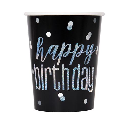 Negras Glitz Holográficas Cumpleaños Papel De Tazas 270 Ml - Paquete De 8