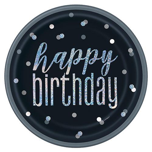 Negro Glitz Holográficas De Cumpleaños Redondas Placas De Papel 22Cm - Paquete De 8