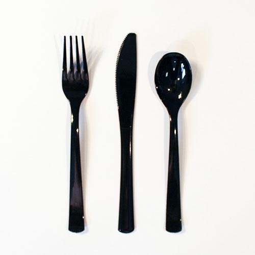 Negro Plástico Surtidos Juego De Cubiertos - Paquete De 18