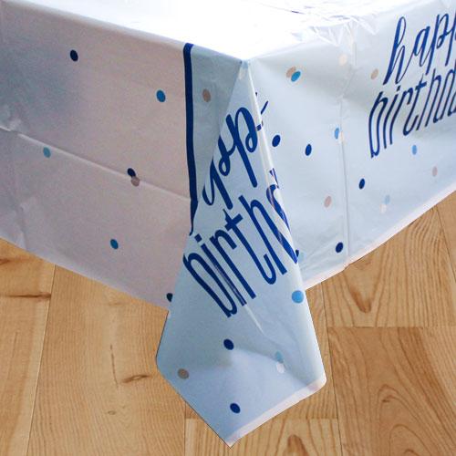 Azul Glitz Cumpleaños Mantel De Plástico 213Cm X 137Cm