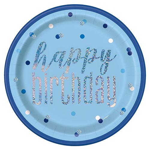 Azul Glitz Holográficas De Cumpleaños Redondas Placas De Papel 22 Cm - Paquete De 8