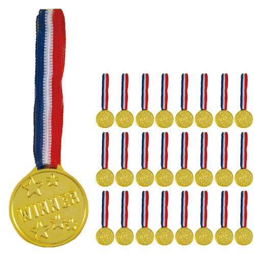 Oro Plastic Ganadoras Medallas - Paquete De 24