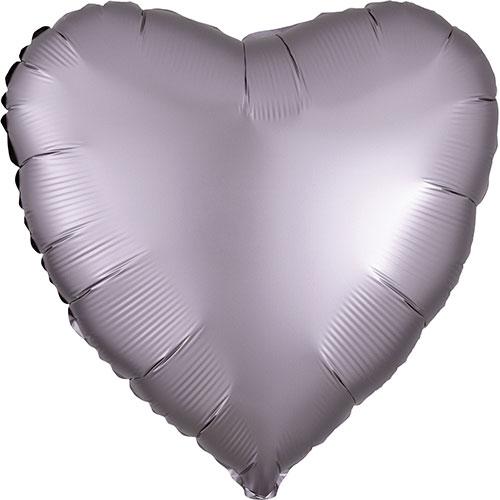 Greige Satén De Lujo Forma Corazón Papel De Aluminio Globo De Helio 43Cm / 17 In