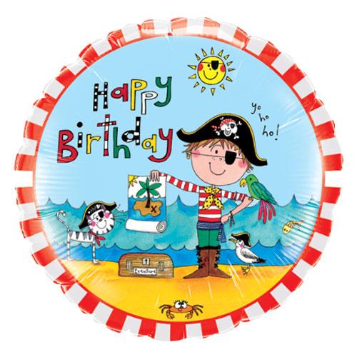 Feliz Cumpleaños Pirata Redonda Papel De Aluminio Helio Qualatex Globo 46Cm / 18 In