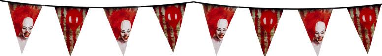 Payaso De Terror Halloween Plastico Banderines Empavesado 6M