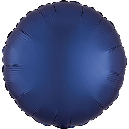 Azul Marino Satén De Lujo Forma Redonda Papel De Aluminio Globo De Helio 43Cm / 17 In