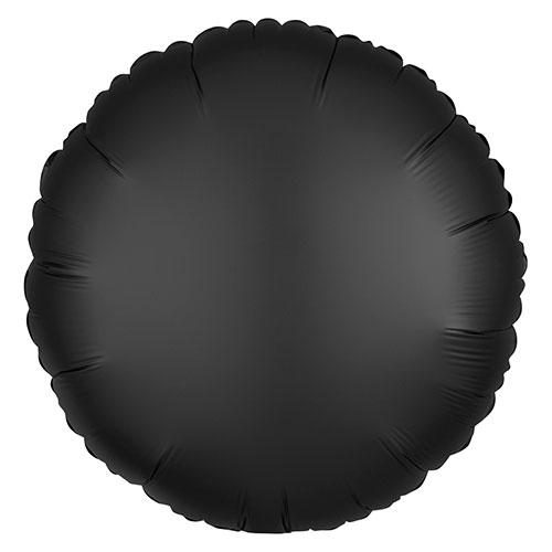 Ónix Negro De Satinado De Lujo Forma Redonda Papel De Aluminio Globo De Helio 43Cm / 17 In