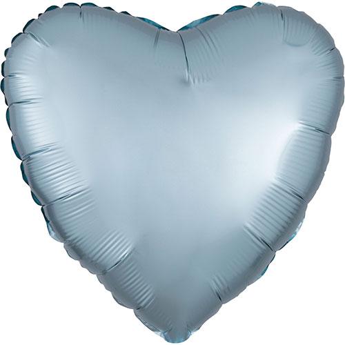 Azul Pastel Satén De Lujo Forma Corazón Papel De Aluminio Globo De Helio 43Cm / 17 In