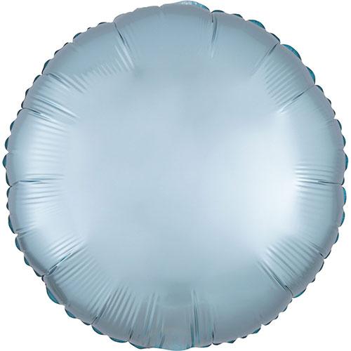 Azul Pastel Satén De Lujo Forma Redonda Papel De Aluminio Globo De Helio 43Cm / 17 In