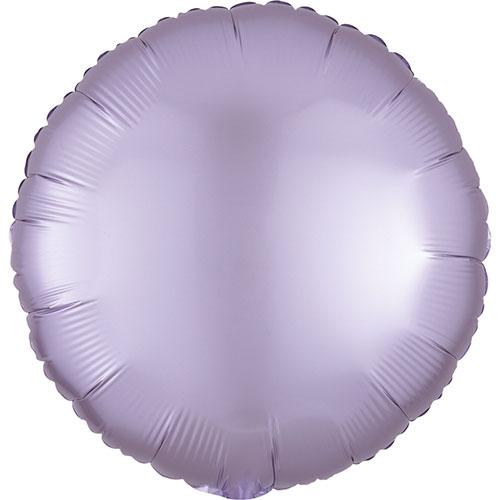 Lila Pastel Satén De Lujo Forma Redonda Papel De Aluminio Globo De Helio 43Cm / 17 In