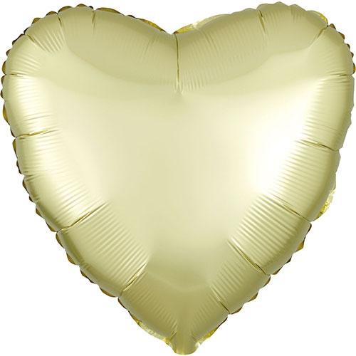 Amarillo Pastel Satén De Lujo Forma Corazón Papel De Aluminio Globo De Helio 43Cm / 17 In