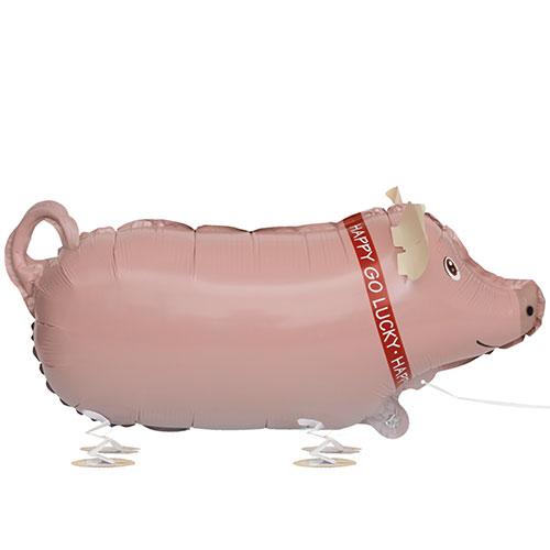 Cerdo Caminando Mascota Papel De Aluminio Globo De Helio 62Cm / 24 En
