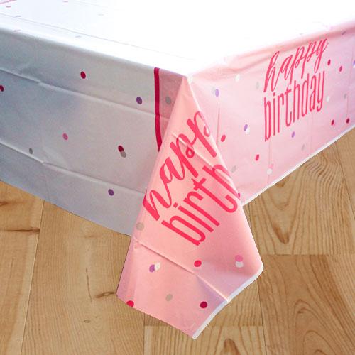 Rosado Glitz Cumpleaños Mantel De Plástico 213Cm X 137Cm