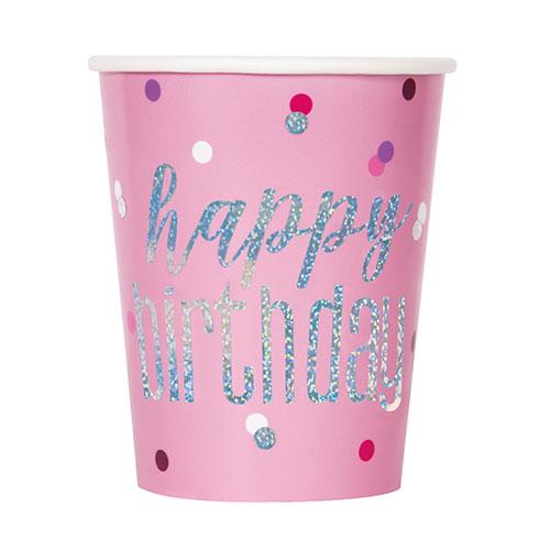 Rosada Glitz Holográficos De Cumpleaños Vasos De Papel 270 Ml - Paquete De 8